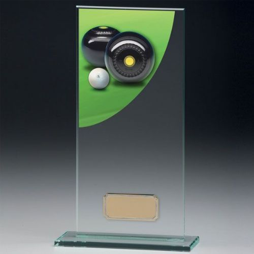 Colour Curve Lawn Bowls Jade Glass Award 180mm
